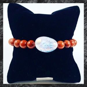 Aura crystal quartz & sunstone beads boho bracelet